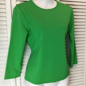 Ann Klein long sleeve green satin knit top Medium
